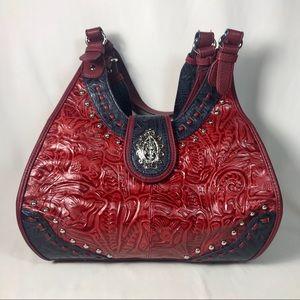MC Embossed Leather Western Handbag Purse,